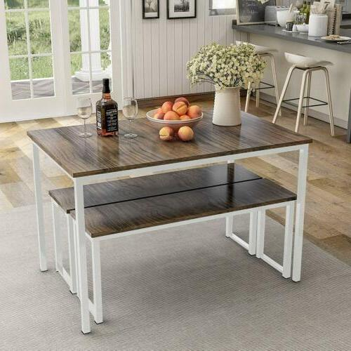 3 piece dining set table 2 bench