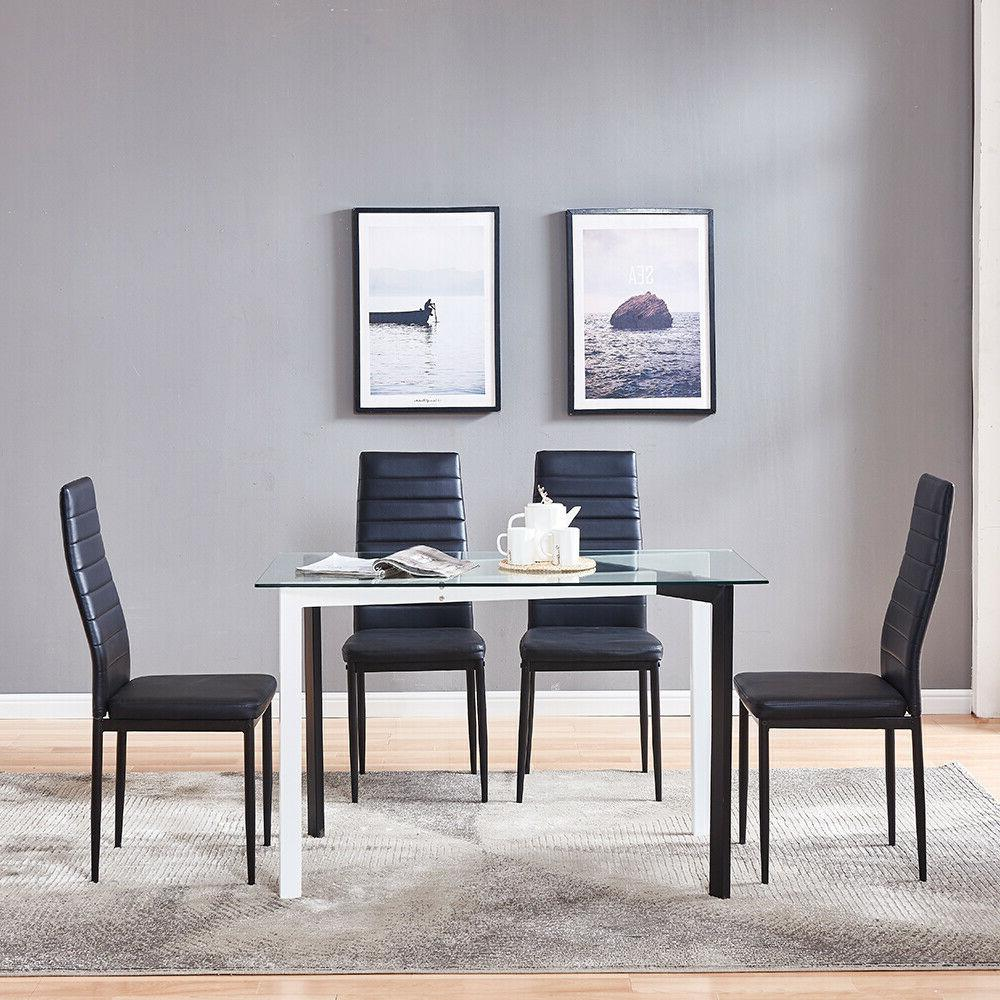 4 Chairs Glass Dining Table Set Leg Decoration Furniture
