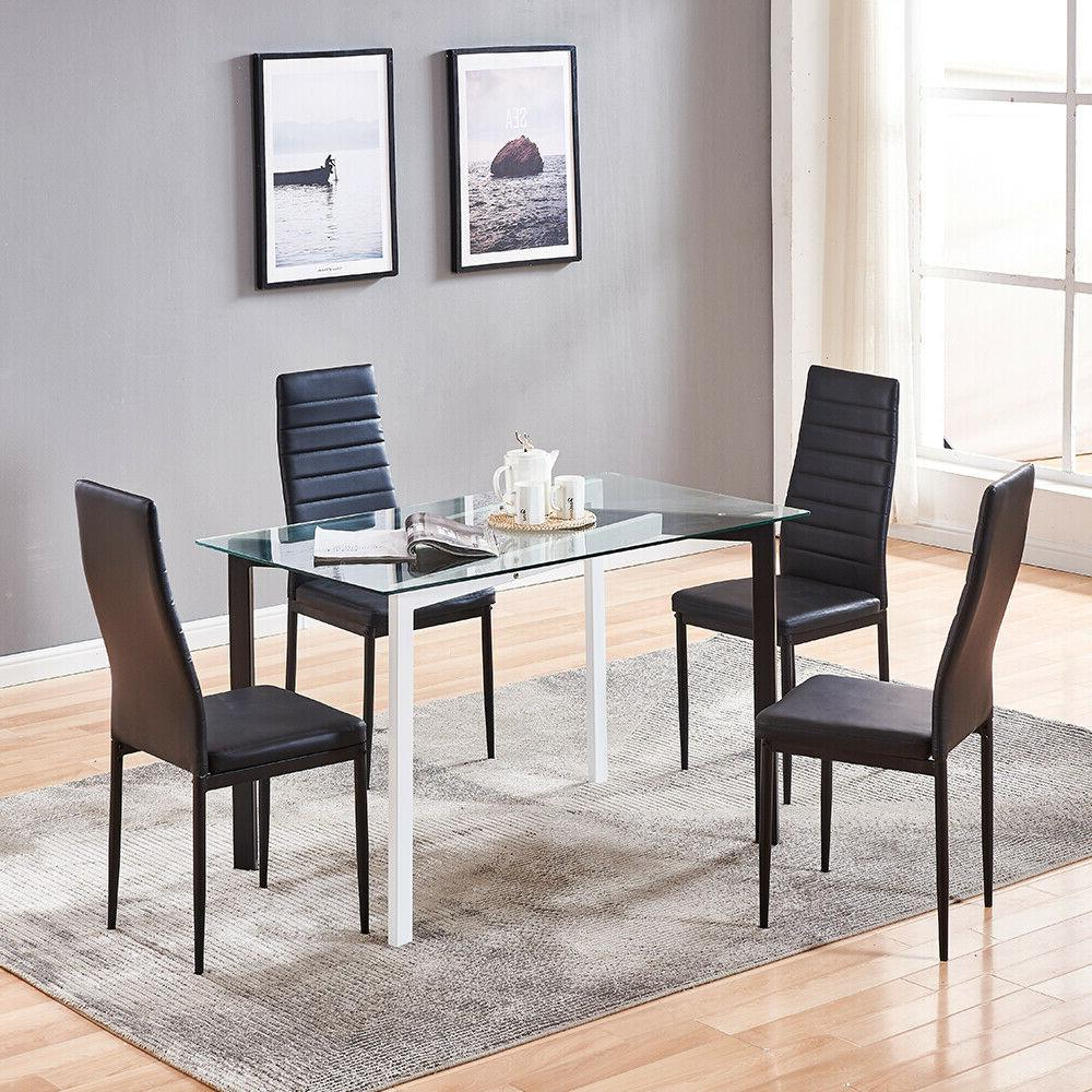 4 Pcs Chairs Glass Dining Leg Furniture