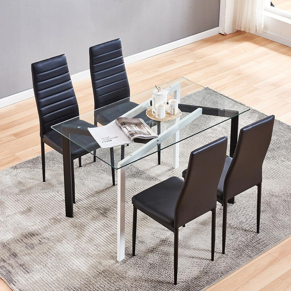 4 pcs chairs glass dining table set