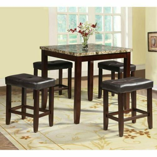 5 pc Espresso Counter Height Dining Pub Set Kitchen Faux Mar