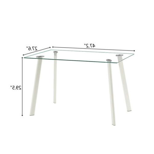 5 Glass Metal Table 4 Chairs Kitchen Room Furniture
