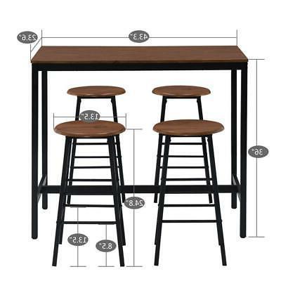 Popular 5 Piece Set Pub Table Bar Dining Height