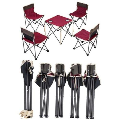 5 Pcs Giantex Portable Outdoor Table and Chairs Set