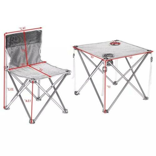 5 Pcs Portable Outdoor Folding Table and Chairs Set