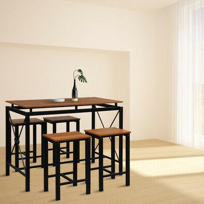 5-Piece Breakfast Tables Set Chairs Wood Room