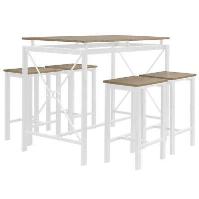 5-Piece Breakfast Tables Set 4 Wood Kitchen