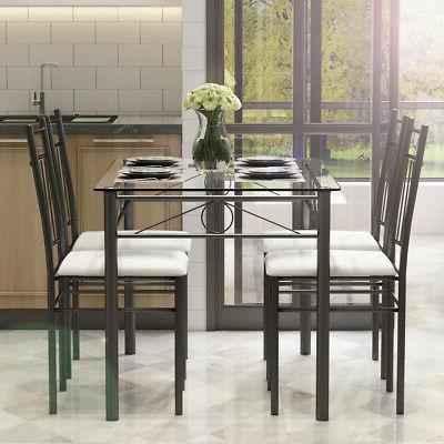 Glass Metal 4 Chairs Room