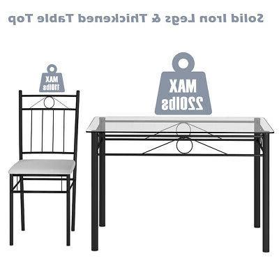 5 Piece Set Glass Table 4 Room