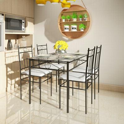 5 Piece Set Glass Table Room