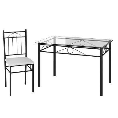 5 Dining Glass 4 Chairs Kitchen Room Furniture