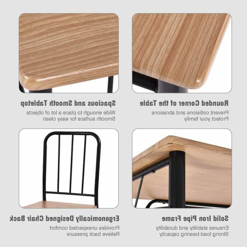 Giantex 5 Set Table Chairs Wood Kitchen Modern
