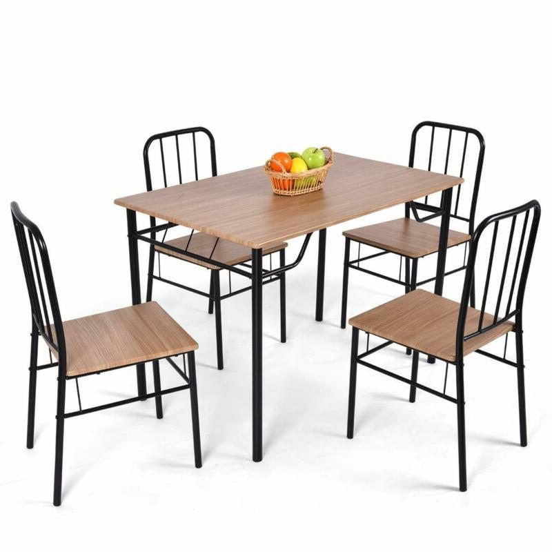 Giantex 5 Dining Set Table and Chairs Kitchen Modern