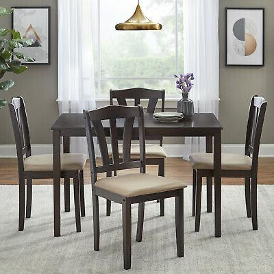 5 piece dining set wood breakfast furniture