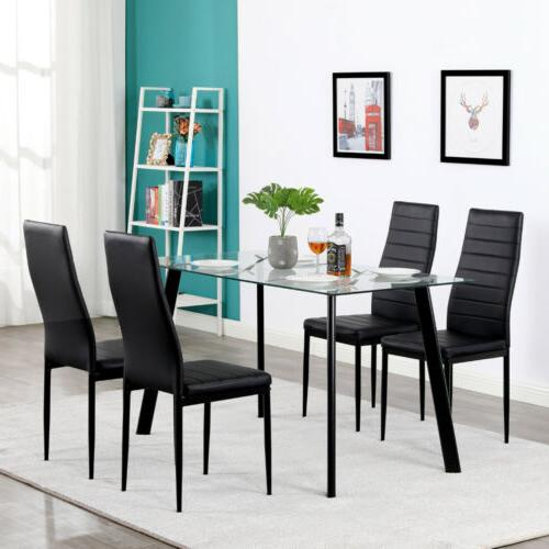 5 pcs Glass Table 4 Chairs Room