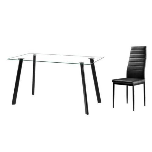 5 pcs Dining Glass Table 4 Room Furniture
