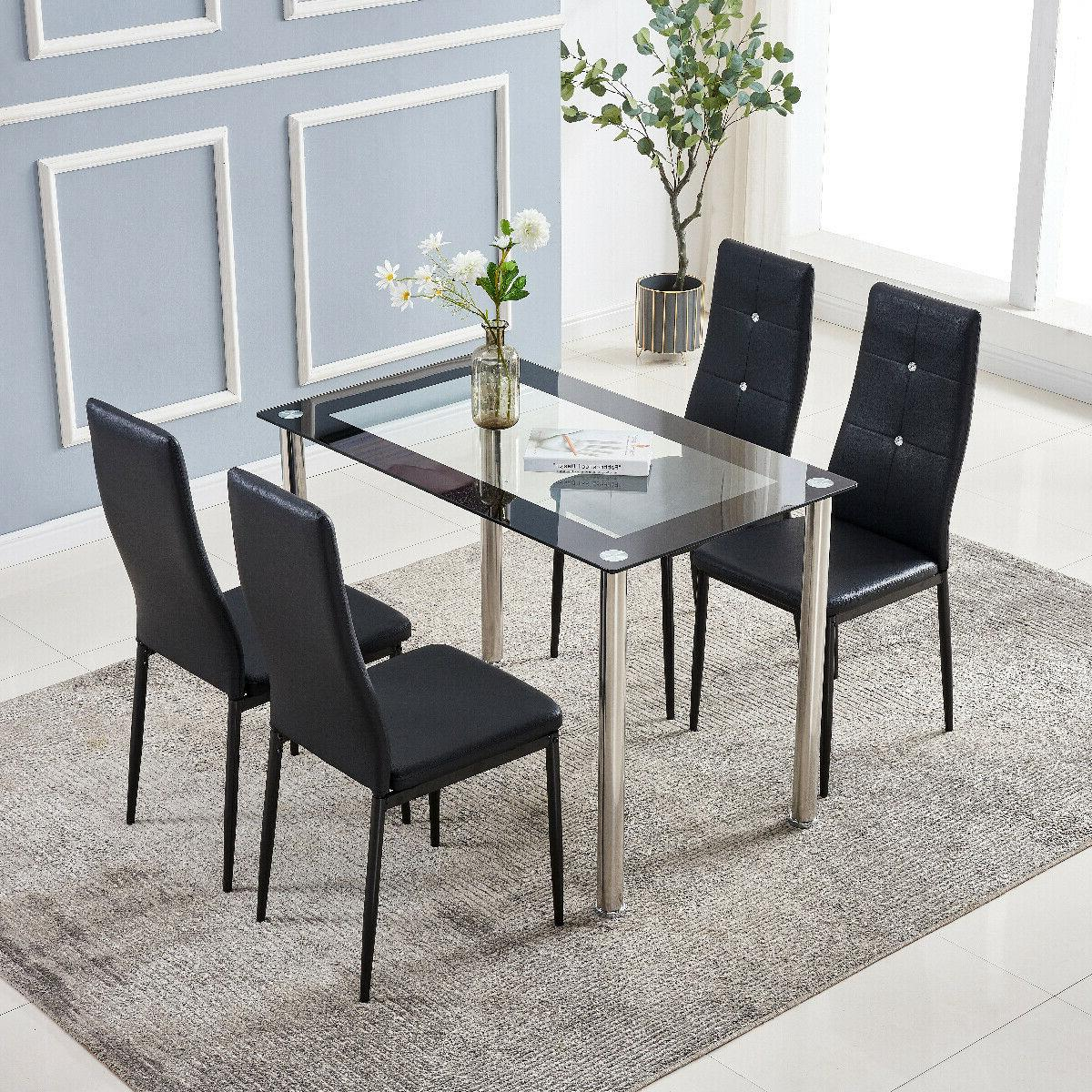 Dining Set Glass Table & PU Chairs With Diamond Button Kitch