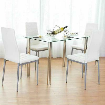 5PC Dining Set Tempered Glass Top Table & 4 Chairs Kitchen F