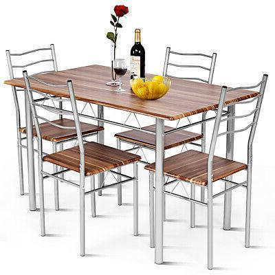 5 Piece Dining Table Set Wood Metal Kitchen Breakfast Furnit