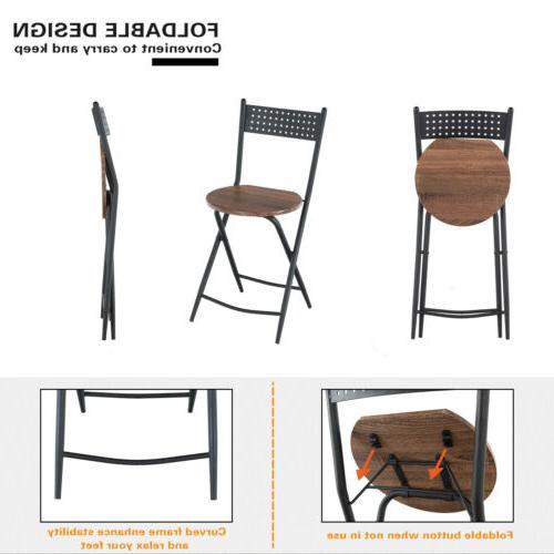 5 Piece Metal Table Set Foldable Kitchen