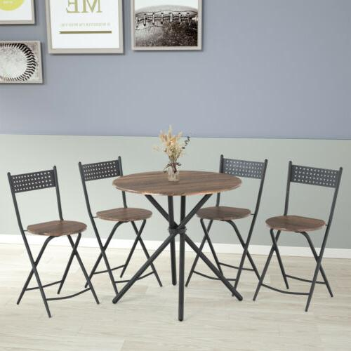 5 Metal Dining Table Set w/ 4 Foldable Kitchen Dining Room