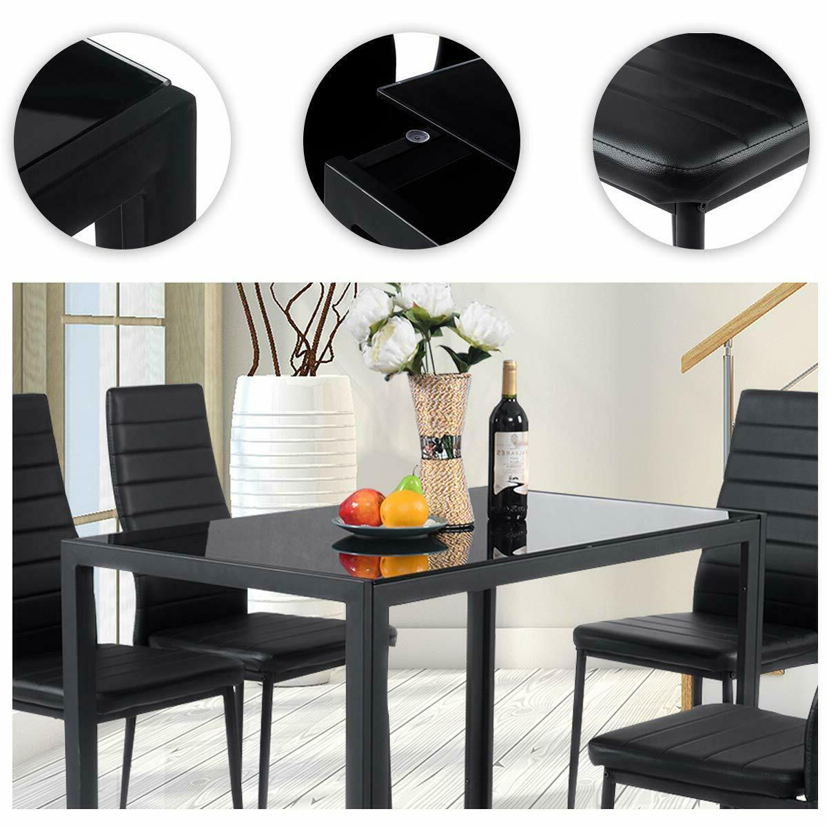 Glass Top Table Set Leather Padded 5 Piece Kitchen Dinette
