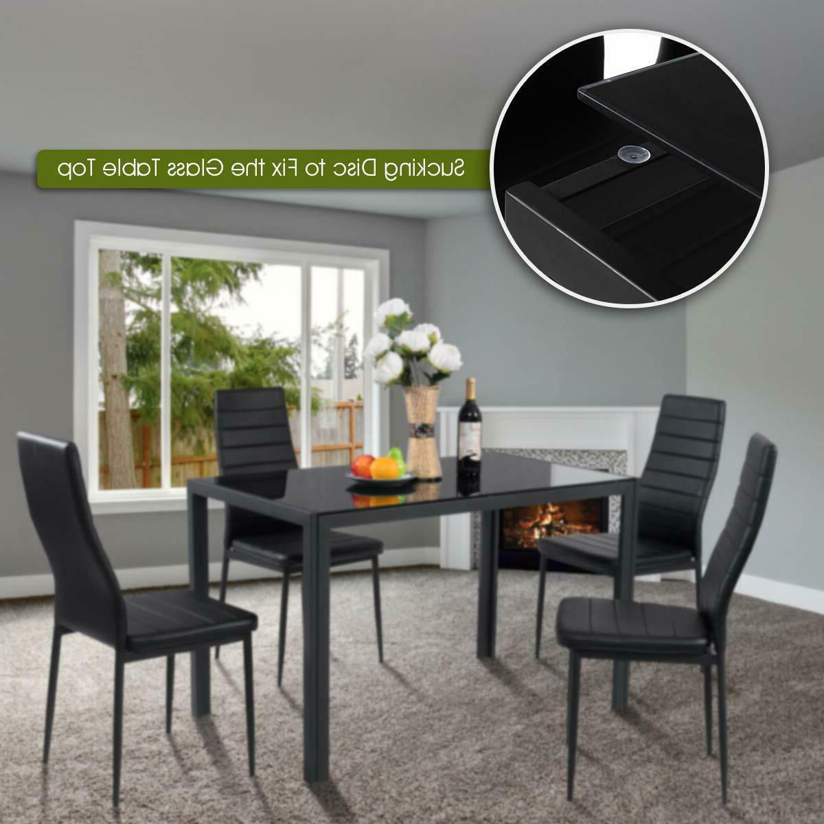 Glass Table Set with Padded Kitchen Dinette