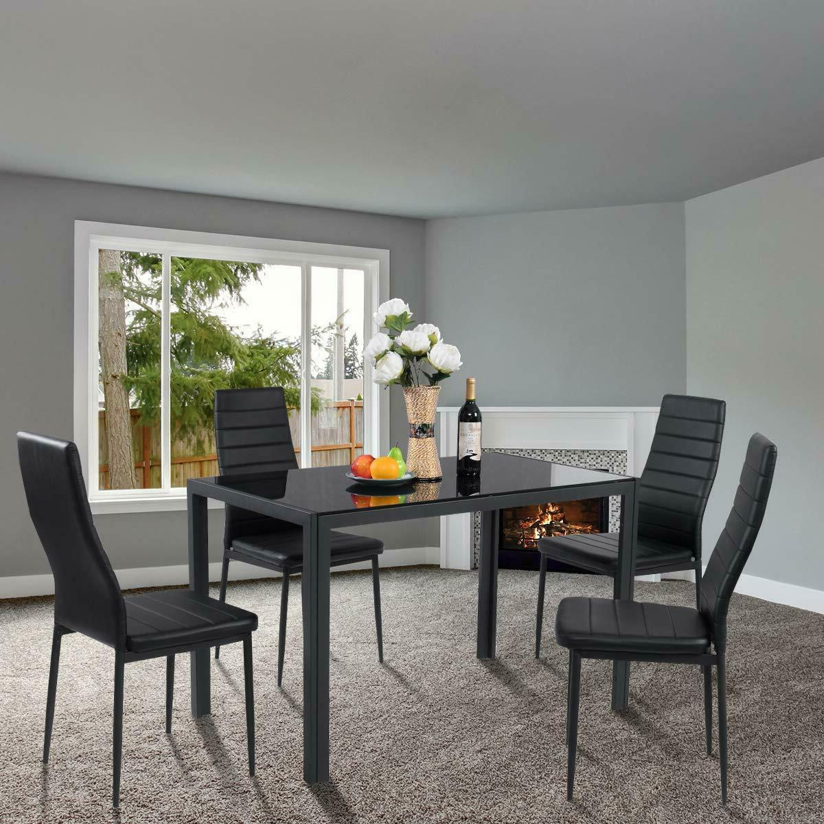 Glass Dining Table Padded 5 Kitchen