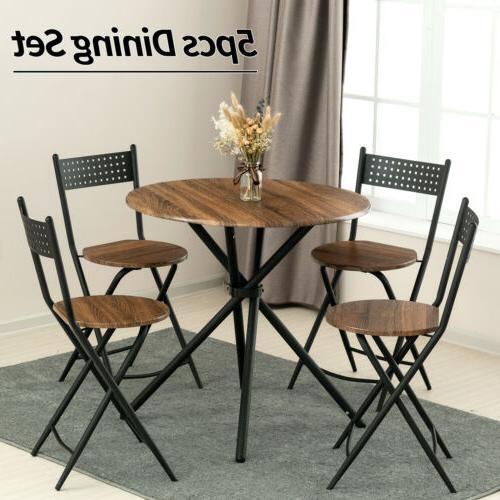 5 piece metal dining table set w