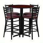 Flash Furniture 5 Piece Round Table Set in Black and Mahogan