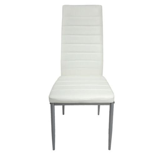 5 WHITE GLASS TABLE AND 4 LEATHER DINNING