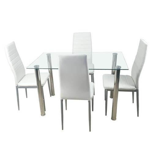 5 DINING WHITE GLASS TABLE 4 CHAIRS FAUX