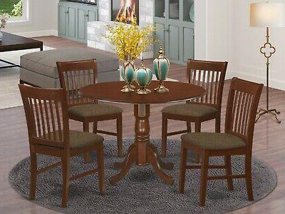 East West Furniture DLNO5-MAH-C 5-Piece Kitchen Table Set, M