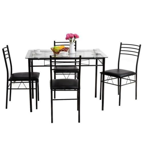 Giantex 5PC Modern Dining Room Glass Top