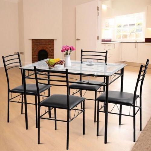 5pc dining set modern dining room tempered