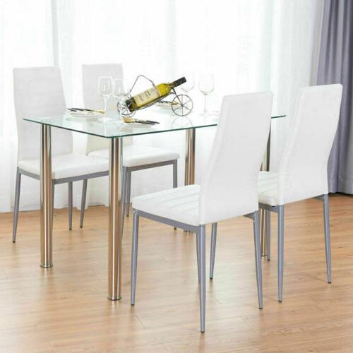 5 Piece Dining Table Set White 4 Chair