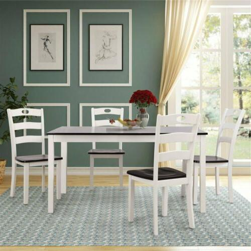 5pccs set white wood dinning table chair