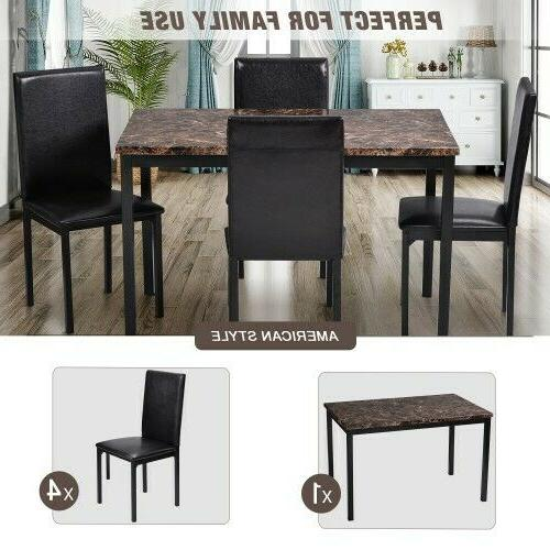5Pcs Room Table Chairs Brown