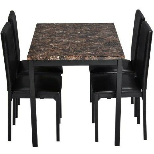 5Pcs Kitchen Room Table Dining Table 4 Leather Chairs Brown