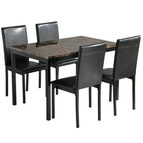 5Pcs Room Table and Chairs Brown