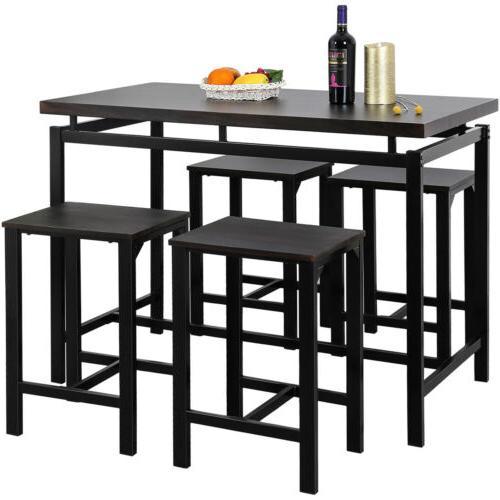 5pcs 4 Chair Kitchen Breakfast Tables Espresso