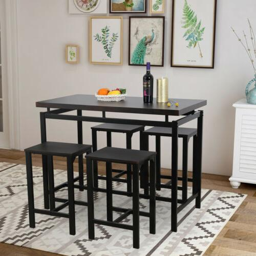 5pcs Set 4 Chair Glass Kitchen Room Espresso