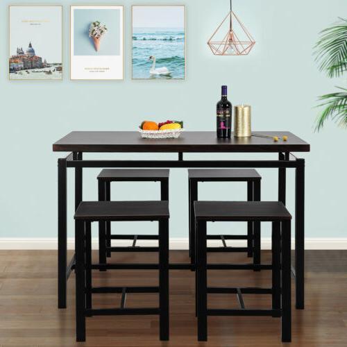 5pcs 4 Chair Wood Kitchen Espresso