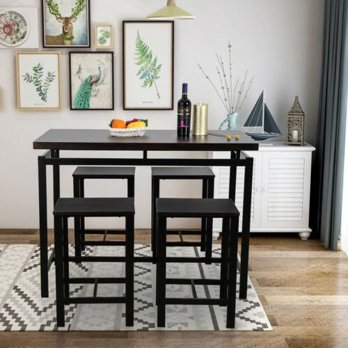 5pcs dining table set 4 chair glass