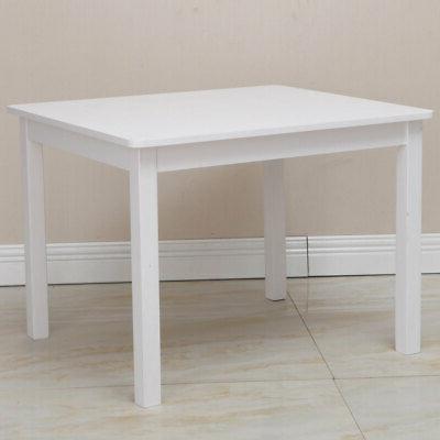 5pcs Home Kids set Wood Table & 4 Tool White