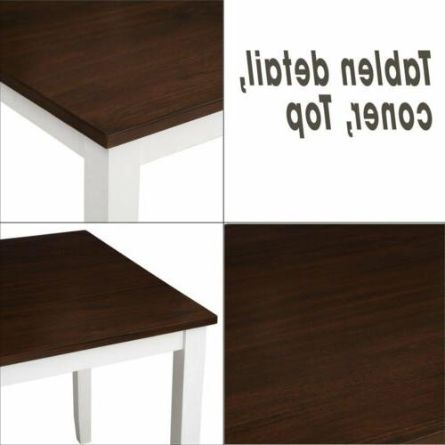 5Pcs Wood Table 4Pcs Back Chairs Dinning Room-White