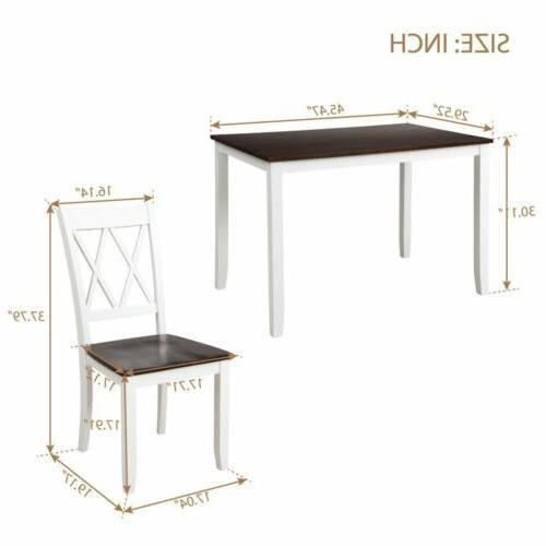 5Pcs Set Table with 4Pcs Back Room-White