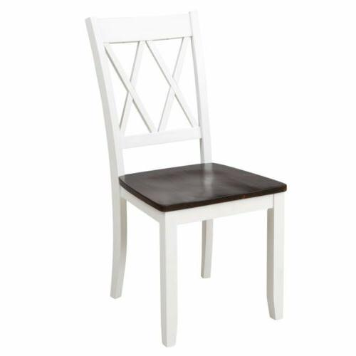 5Pcs Set Table with 4Pcs High Back Chairs Room-White