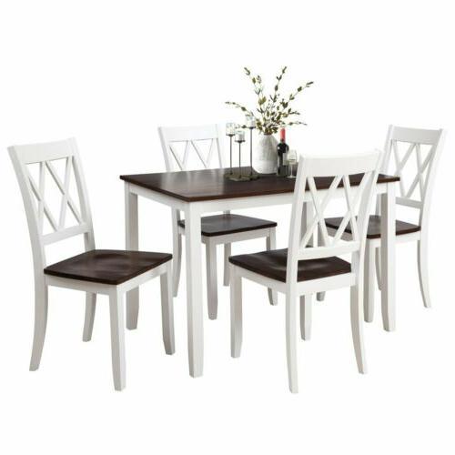 5pcs wood dinner set table with 4pcs