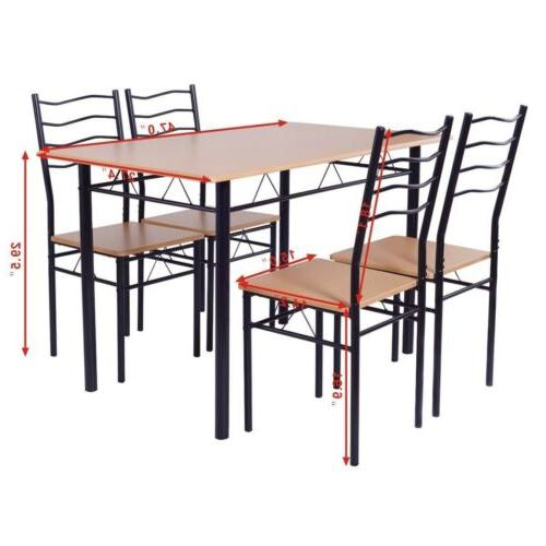 5PCS Wood Table Sets w/4 Home Living Room Furniture